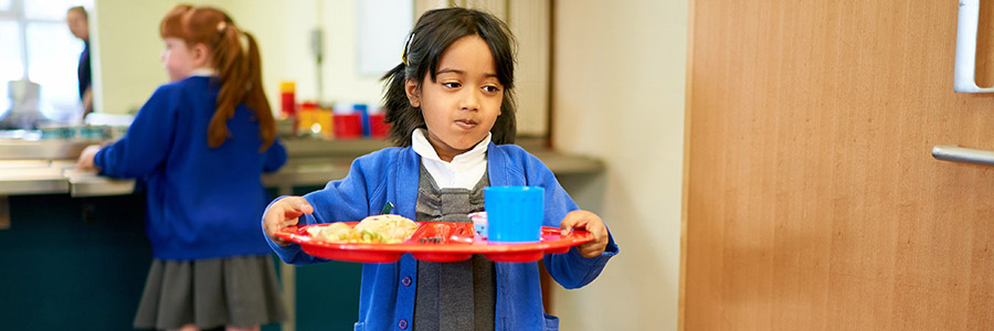St Andrew's Primary - Pupil Carrying Dinner Tray